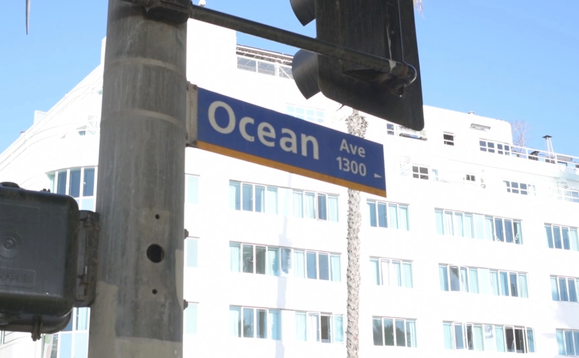 Free Stock Footage – Santa Monica Ocean Ave – Small Street Sign – Royalty Free