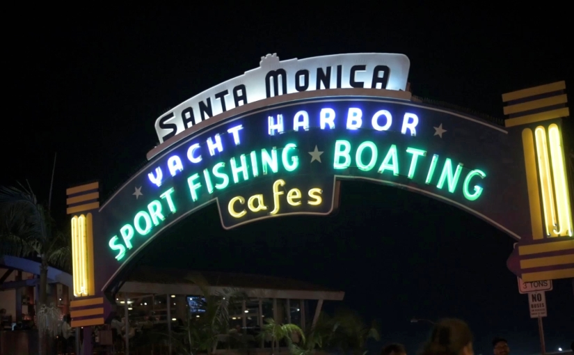 Free Stock Footage – Santa Monica Pier Yacht Harbor Gate Sign – Royalty Free