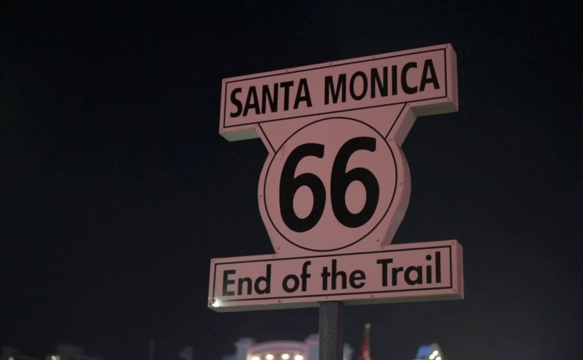 Free Stock Footage – Santa Monica Route 66 End of the Trail Roadsign – RoyaltyFree