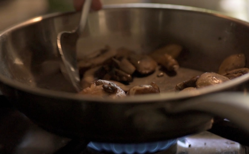 Free Stock Footage – Slow Motion Cooking Mushrooms – Royalty Free